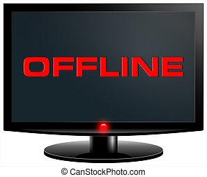 offline - Offline. Internet concept. PC screen isolated on...