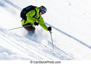Offpiste skiing - Freeride skiing. Offpiste downhill in...