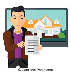 offrande, agent, house., propriété, vrai