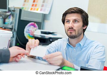 offrande, concepteur, bureau, businesscard