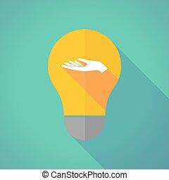 offrande, lumière, long, main, vecteur, ampoule, ombre