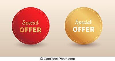 offre, étiquette, spécial, vente