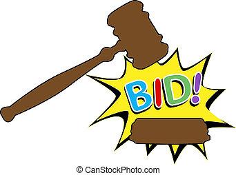 offre, acheter, enchère, marteau, dessin animé, icône