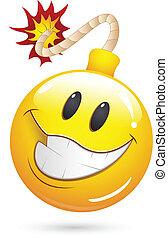 offre, explosion, bombe, visage smiley