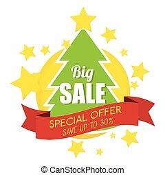 offre, grand arbre, vente, joyeux, bannière, noël, spécial