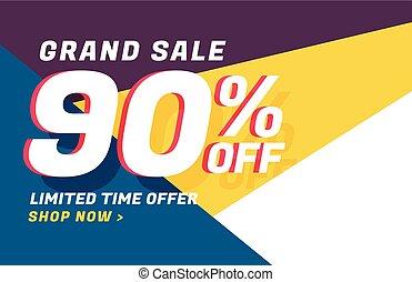offre, moderne, vente, conception, détails, bannière géométrique