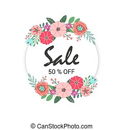 offre, moderne, vente, conception, promotion, fleurs, bannière