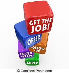 offre, processus, obtenir, application, métier, follow-up, entrevue