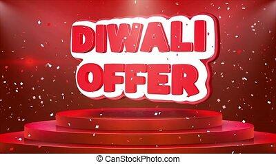 offre, texte, diwali, podium, animation, confetti, boucle, ...
