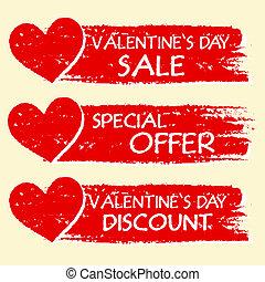offre, texte, valentines, -, vente, escompte, trois, spécial, cœurs, dessiné, bannières, jour, rouges