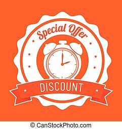 offre, timbre, escompte, orange, bannière, spécial