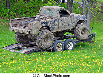 Offroad Accident - Four wheel drive covered with mud inside...