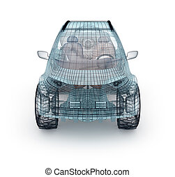 offroad, autó, tervezés, drót, model., az enyém, saját, design.