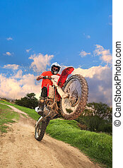 Offroad Bike - Young man riding around on his dirtbike doing...