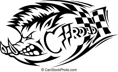 Offroad boar tattoo - Offroad danger boar for tattoo. Vector...
