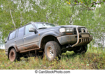 Offroad car - Dark offroad vehicle at forest border