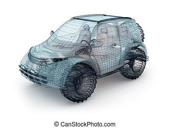 Offroad car design, wire model.  My own design.