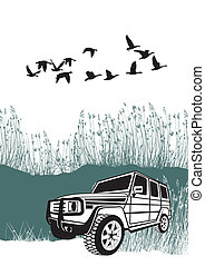 Offroad car in the reeds - vector illustration offroad car...