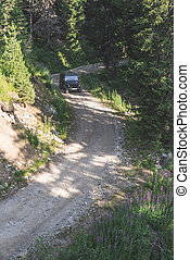 Offroad car on a mountain road