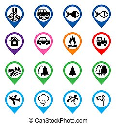 Offroad event and camping icons set. Vector illustration. -...