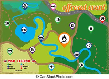 Offroad event and camping map icons set. Vector...