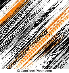 Offroad grunge tyre prints, vector background