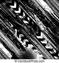 Offroad grunge tyre prints, vector black pattern