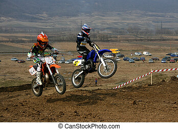 offroad - Offroad competition - teenagers flying on their...