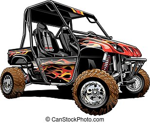 Rhino, side by side, custom paint, offroad vehicle Vector