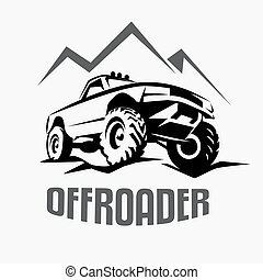 offroad suv car monochrome template for labels, emblems, badges or logo
