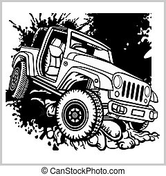 offroad suv car monochrome template for labels, emblems, badges or logos - vector stock