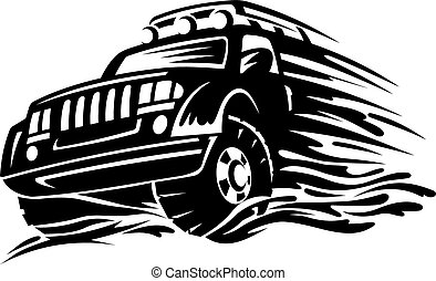 Offroad vehicle in black color for tattoo design