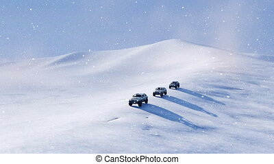 Offroad vehicle SUV on snow slope at snowfall - Group of 4x4...