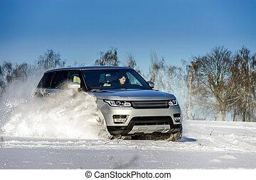 offroader, automobile, potente, campo neve, correndo, 4x4