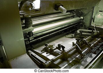 offset, imprimindo, máquina