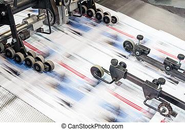 offset, imprimindo, máquina, em, trabalho