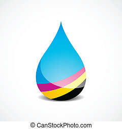 Offset Ink Drop - Vector Illustration of Drop With Offset...