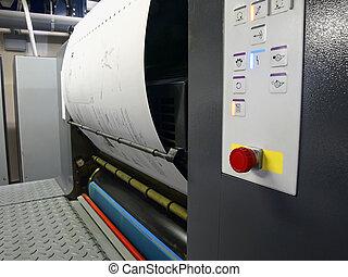 offset, prensa impressão, delinear, em, um, prato