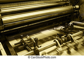 Offset printing machine - Offset machine in printing house,...