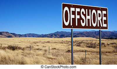 Offshore brown road sign