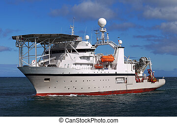 Offshore Diving Ship B - Diving vessel underway at sea to...