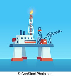 Offshore drilling oil rig - Sea oil extraction rig. Offshore...