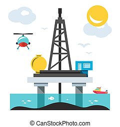 Offshore Drilling Platform. Vector Flat style colorful...