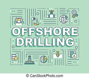 Offshore drilling word concepts banner. Oil rig construction. Petroleum extraction. Infographics with linear icons on mint background. Isolated typography. Vector outline RGB color illustration
