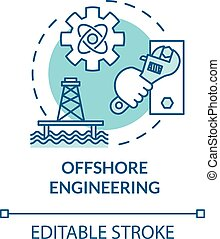 Offshore engineering turquoise concept icon. Oil rig maintenance. Marine structure build. Water construction idea thin line illustration. Vector isolated outline RGB color drawing. Editable stroke