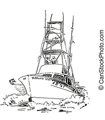 Offshore fishing boat sketch - Offshore, Boat, Fishing Boat,...