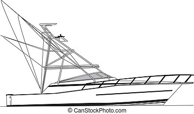 Offshore Fishing Boat Vector - 43 foot offshore fishing...