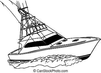Tuna Chaser, custom built boat for tuna, offshore, ocean fishing boat, vector