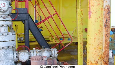 Offshore gas and oil production platform equipment pan shot