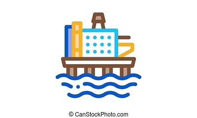 offshore gas station Icon Animation. color offshore gas station animated icon on white background